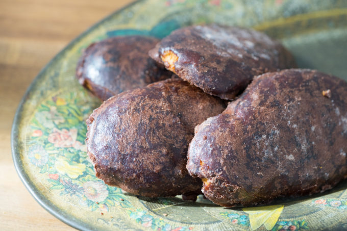 Susumelle (a type of gingerbread coated in chocolate)